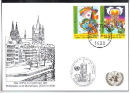 RTY11  UNO WIEN 2005  MICHL 451/52  WEISSE KARTE - White Cards - Wien - Internationales Zentrum