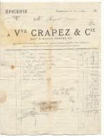 Landrecies, Facture Veuve Crapez, épicerie, 1911 - Unclassified