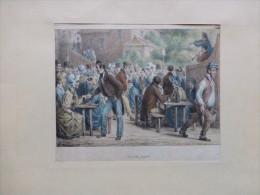 Soirée Du Peuple (Bal Public, Café) TB  LITHO Couleur Vers 1850 ? ; Ref 451 - Estampes & Gravures