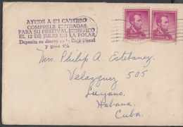 1959-H-4 US FDC COVER LAKEWOOD. NEW JERSEY TO CUBA 1959. HAVANA. MARCA: AYUDE A SU CARTERO…4 POR CIENTO CAJA POST - Storia Postale