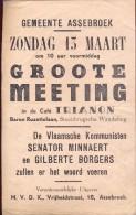 kleine affiche politiek Meeting Vlaamse kommunisten - caf� Trianon Assebroek