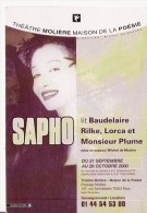 SAPHO CARTE DEDICACEE A PHILIPPE - Autographes