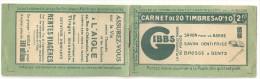 France Carnet Semeuse Camée Yvert 159-C2 ** Serie 26, NsC, Case 13 Type 1a, GIBBS, 115x66!, 3 Scans, 159 C 2 - Freimarke