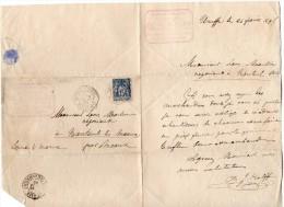 TB 591 - TB Type Sage Sur Lettre OB VANNES - LE - CHATEL - Graines Potagères CH.J.KALFF à URUFFE - Marcophilie (Lettres)