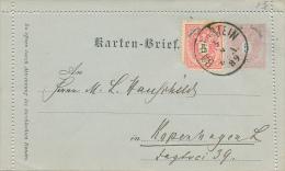 BAD GASTEIN - 1889 , Kartenbrief Nach Kopenhagen - Entiers Postaux