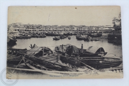 Old Singapore Postcard - The Singapore River - Boats And People - Singapur