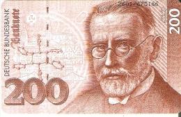 TARJETA DE ALEMANIA CON UN BILLETE DE 200 MARKS (BANKNOTE) - Sellos & Monedas