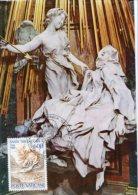 Roma - Cartolina TRASVERBERAZIONE DI SANTA TERESA D'AVILA, 4° Centenario Morte (BERNINI) + Francobollo - PERFETTA H34 - Sculture