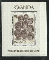 RWANDA 1979 CHILD CHILDREN YEAR BLOCK MINI SHEET ANNO INTERNAZIONALE DEL FANCIULLO BLOCCO FOGLIETTO MNH - Rwanda