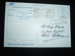 CP CHANGEMENT D'ADRESSE PTT CODE POSTAL OBL.MEC.2-3-1985 MASSY PPAL (91) + GRIFFE COLMAR (68 HAUT-RHIN) - Marcophilie (Lettres)