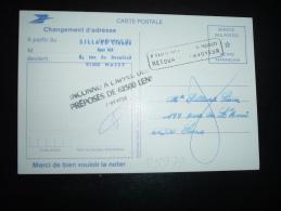 CP CHANGEMENT D'ADRESSE PTT CODE POSTAL + GRIFFE LENS (62 PAS DE CALAIS) - Marcophilie (Lettres)