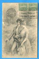 Mans788, Couples Avec Des Chapeaux,fantaisie, Circulée 1923 Cachet: Chèques Postaux, Demandez L'ouverture D'un Compte - Couples