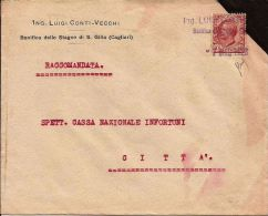 REGNO LEONI 10 C ISOLATO 1928 TIMBRO PRIVATO RACCOMAND CONSEGNA A MANO CAGLIARI - 1900-44 Vittorio Emanuele III