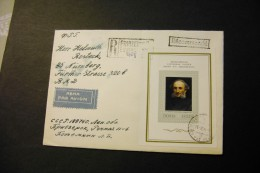 Russia 4268 Jacques Louis David Portrait On Souvenir Sheet Block On Registered Cover 1974 A04s - 1923-1991 USSR