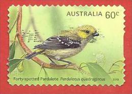 AUSTRALIA USATO - 2013 - Pardalotes Australiani (Uccelli) Forty Spotted Pardelote - 60 Cent - Michel AU 3957 AUTOADESIVO - Usati