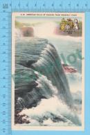 CA  Ontario (American Falls Of Niagara From Prospect Point + Blazon, CPSM   Linen Postcard ) Recto/Verso - Non Classés