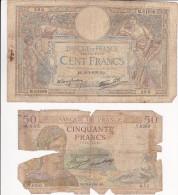Billet 100 Francs Merson - RO 16.02.1939 - Entier Mais Fatigué + Cadeau Billet 50 Francs Déchiré Et Incomplet - 1871-1952 Frühe Francs Des 20. Jh.