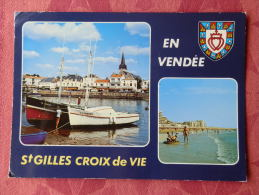 Cpm Saint GILLES CROIX De VIE , V.8822 , Le Port Et La Plage   , Multivues (1.843) - Saint Gilles Croix De Vie