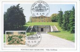 ITALIA - FDC MAXIMUM CARD 1995 - VILLA GRIFFONE - PONTECCHIO MARCONI - RADIO - Cartoline Maximum