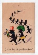 Illustrateur Signé Kat - Défilé De Chats Noirs (18) - Illustrators & Photographers