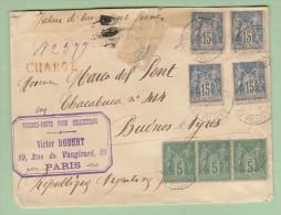 C113) ENV charg�e de Param� (Ille et Vilaine) pour Buenos Aires (Argentine) le 28 aout 1891, RARE, voire descriptif