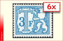 Belgium TX 75P6**  - 3F Bleu - MNH - ---------->x6
