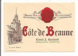 Etiquette Côte De Beaune Cuvée J.Boulard - Le Vieux Beffroi - Imp. Jouffroy à Beaune - - Bourgogne