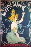 Carte PUB Moderne,Absinthe Blanoui, Femme Elegante, Verre A Pied, Illustrateur Nover - Advertising