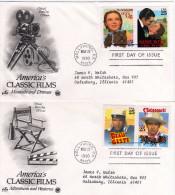 """U.S.A: 1990 Belles Fdc Série Fims Classiques Cinéma Américains """"magicien D'Oz Autant En Emporte Le Vent Beau Geste ..."""" - Etats-Unis"""
