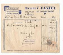 Facture , 1944 , Spiritueux , Vins éxotiques , Robert GASTOU , Paris-Bercy , Tampon , Timbrée - Facturas & Documentos Mercantiles