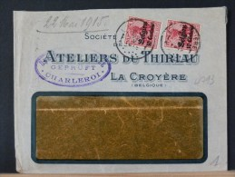 B/4793     LETTRE  LA CROYERE    CENSURE  CHARLEROI - WW I