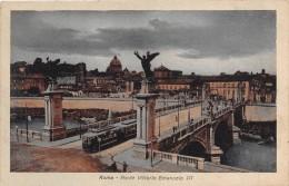 "0936  ""ROMA - PONTE VITTORIO EMANUELE III""  ANIMATA, TRAMWAY.  CART. POSTALE. NON SPEDITA - Ponts"