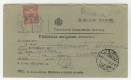 Ungarn Michel No. 153 gestempelt Kisvarda auf Telefon Geb�hren Zettel