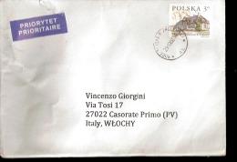 Busta Viaggiata In Posta Prioritaria Dalla Polonia Al´italia - Monumenti