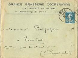 """LETTRE  PUBLICITE GRANDE BRASSERIE COOPERATIVE  DES """"ENFANTS DE DAYANT""""  DOUAI  1922 - Bières"""