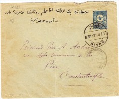 Türkei  Ganzsachen Brief 1 Piastre Von Sivas Nach Péra Constantinople - Lettres & Documents