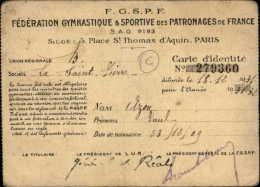 SPORTS - GYMNASTIQUE - Carte De Fédération - Patronages De France - Non Classés