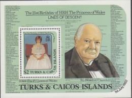 TURKS CAICOS, 1982 DIANAS 21st MINISHEET MNH - Turks- En Caicoseilanden