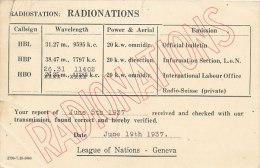 UNO-002 UNITED NATIONS UNIES VN UNO - 1937 RADIONATIONS CARD RADIO - GENEVA POSTMARK - UNO