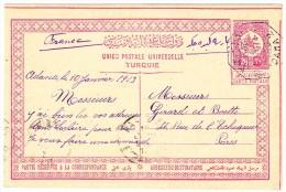 Türkei  Ganzsache Karte 20 Paras 10.1.1913 Adana Nach Paris - Lettres & Documents