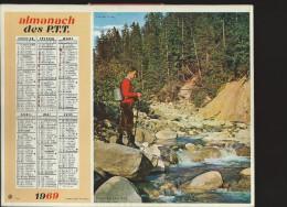 CALENDRIER ALMANACH DES PTT 1969 Oberthur (édition De L' Ardèche) Chasse Pêche 20 Pages Intérieures - Calendriers