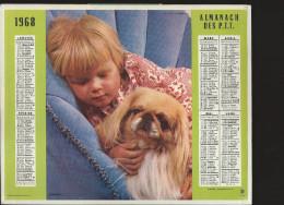 CALENDRIER ALMANACH DES PTT 1968 Oberthur (édition De L´ Ardèche) Enfant Chien Bouquet 20 Pages Intérieures - Tamaño Grande : 1961-70