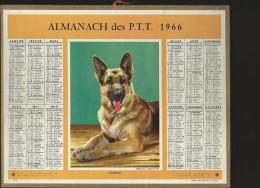 CALENDRIER ALMANACH DES PTT 1966 Oberthur (édition Du Vaucluse) Chien Berger Allemand 11 Pages Intérieures - Grand Format : 1961-70