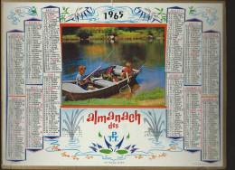 CALENDRIER ALMANACH DES PTT 1965 Oller (édition Du Vaucluse) Enfants Pêche 9 Pages Intérieures - Calendriers