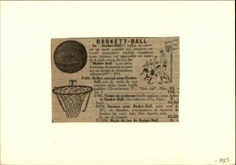 SPORTS - BASKET - Publicité Tirée D´une Revue De 1925 Et Collée Sur Carton - Non Classés