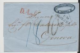 Rl172a/ RUSSLAND -  D. A. A. L. Auf Brief Odessa Nach Genua, Taxvermerke Handschriftlich  1858 - 1857-1916 Imperium