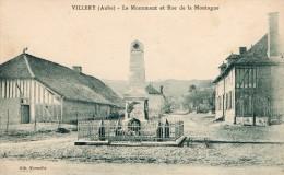 VILLERY - LE MONUMENT AUX MORTS ET LA RUE DE LA MONTAGNE -BELLE CARTE - TOP !!! - Altri Comuni