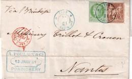 """INDE FRAN�AISE : N�17 et 34 . 1881 . LETTRE DE """" PONDICH�RY """" POUR NANTES . QQS D�FAUTS ."""