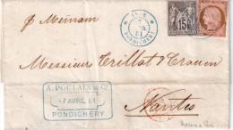 """INDE FRAN�AISE : N� 18 et 33 . 1881 . LETTRE DE """" PONDICH�RY """" POUR NANTES . QQS D�FAUTS ."""