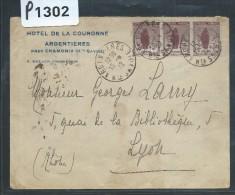 FRANCE - LETTRE POUR LYON 1922 AFFRANCHISSEMENT AVEC UN BLOC DE 12 ET 1 BANDE VDE 3 DU N° 148 ORPHELIN  RARE AINSI - Marcophilie (Lettres)